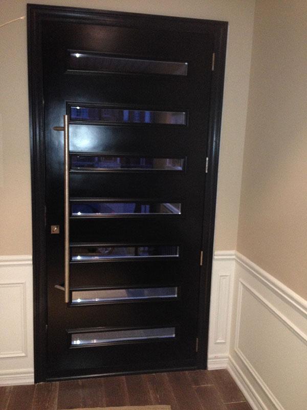 Modern Flush Glazed Fiberglass Doors with Clear Door lites and Stanless Steel Door Handle installed in Markham-Inside View