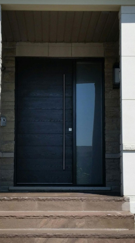 Modern Front Door-Modern Rustic Woodgrain Front Door with Frosted Side Lite and Stainless Steel Bar and Multi Point Locks Installed by Modern-doors