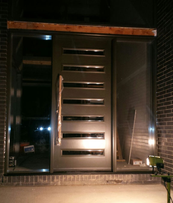 Modern Front Door with Door Lites and 2 Clear Side Lites with Stainless Steel Handle