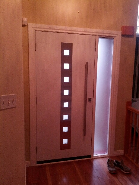 Modern Front Entry Door System with Stainless Steel & Multi Point Lock installed in Kitchener-Ontario-Inside View