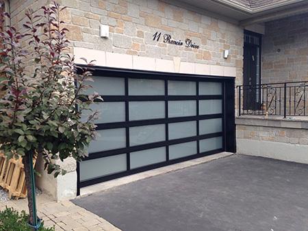 Modern Garage Door with Frosted Door Lites instaled in Oakville