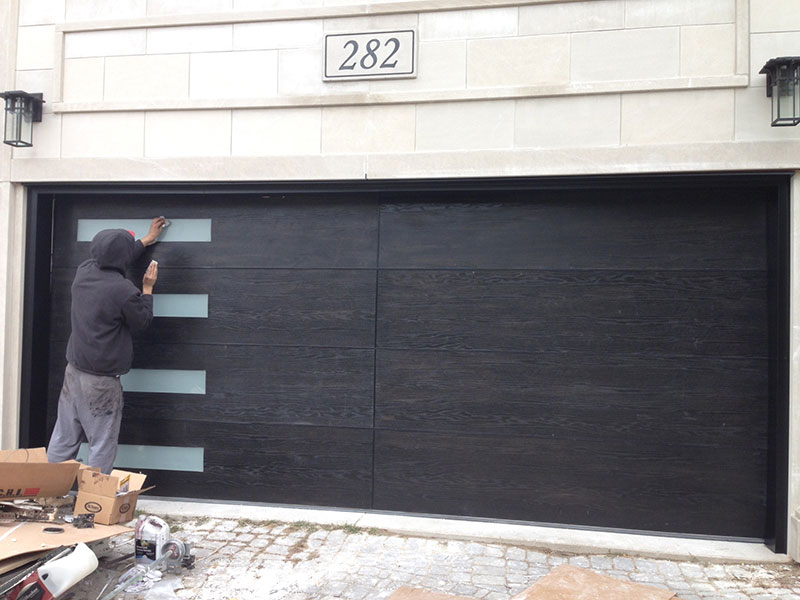 Modern Garage Doors-Woodgrain Garage Doors with Frosted Door Lites Installed in Toronto by Modern Doors