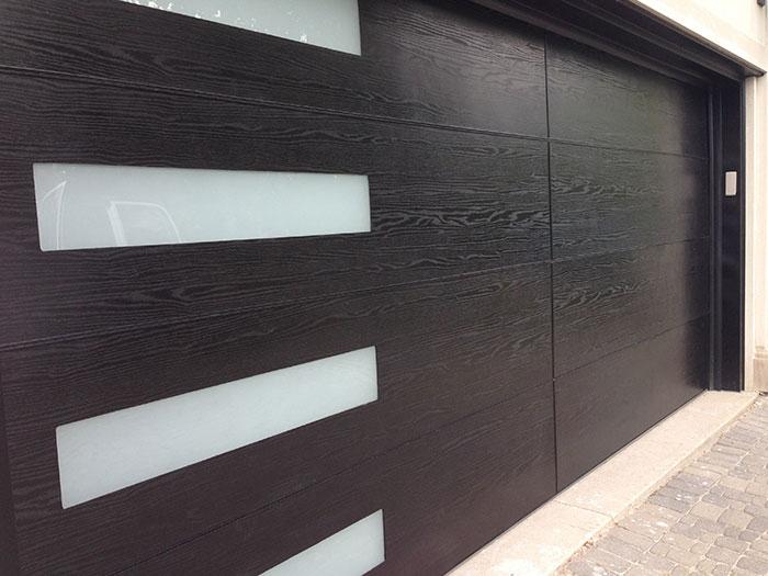 Modern Garage Woodgrain Fiberglass Door with Door Lite Installed inRichmond Hill