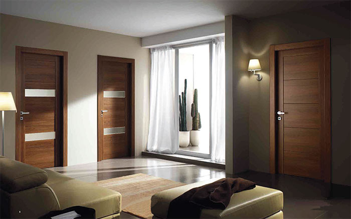 Modern Interior Italian Doors- DOOR BATTENTE WEDDING and HINGED DOOR WALNUT installed in Oakville, Ontario by Modern-doors.ca