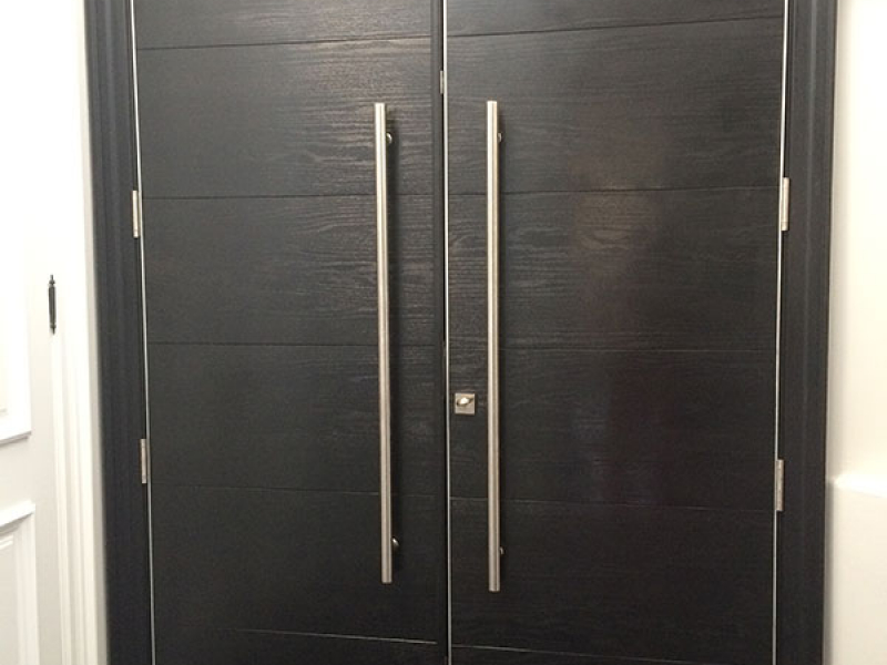 Modern Woodgrain Rustic Doors with Stainless Steel Handles installed in Toronto-Inside View