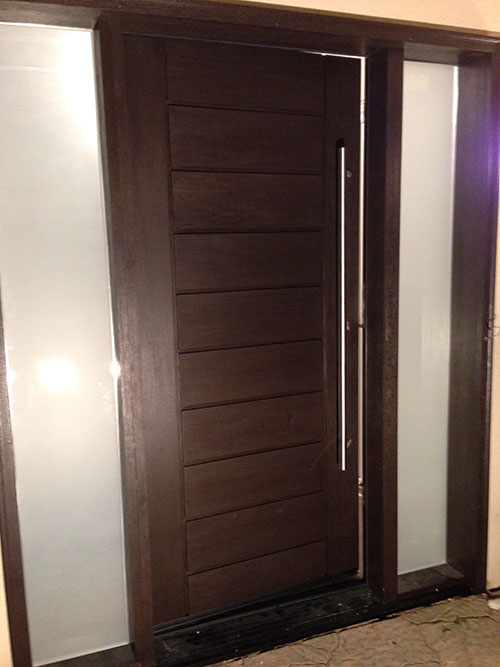 Rustic Modern Contemporary Front Entry Fiberglass Door with 2 Frosted Side Lites Installed by modern-doors.ca in Brampton, Ontario-Picture#MED160